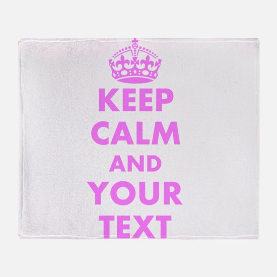 Pink keep calm and carry on Throw Blanket
