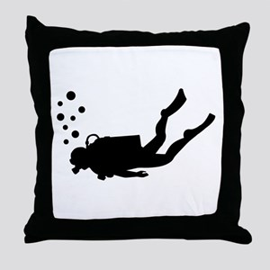 Scuba diver bubbles Throw Pillow