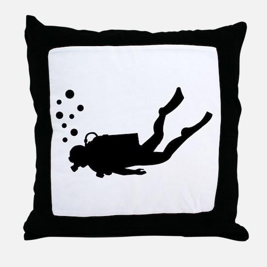 Scuba diver bubbles Throw Pillow