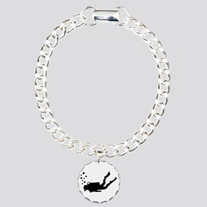 Scuba diver bubbles Charm Bracelet, One Charm
