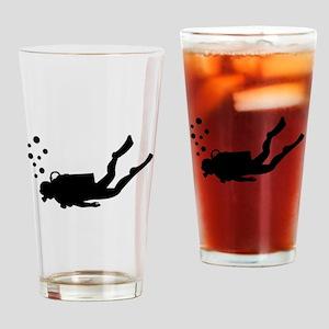 Scuba diver bubbles Drinking Glass