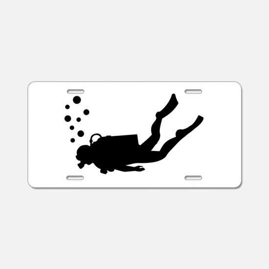 Scuba diver bubbles Aluminum License Plate