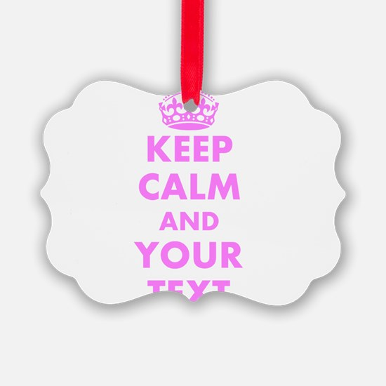 Pink keep calm and carry on Ornament