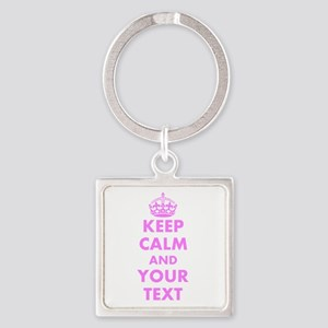 Hot Pink Keep Calm And Carry On Keychains