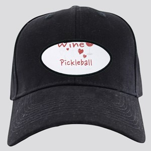 I Love Wine And Pickleball Sh Black Cap with Patch