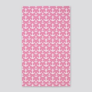Pink Anchor Nautical 3'x5' Area Rug
