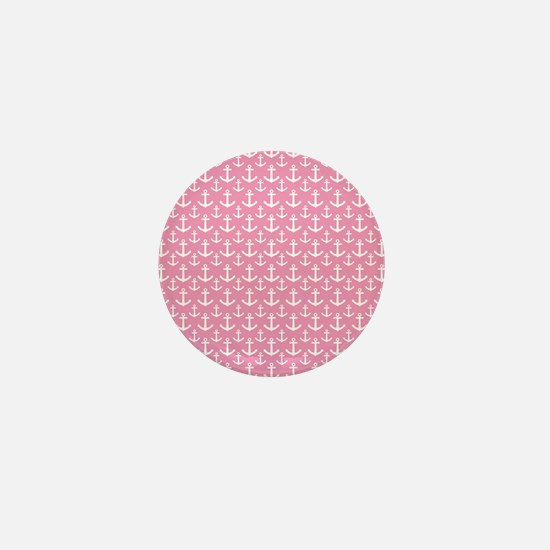 Pink Anchor Nautical Mini Button