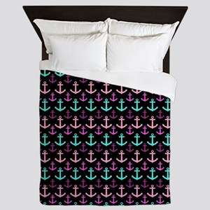 Trendy Nautical Anchor Pattern Queen Duvet