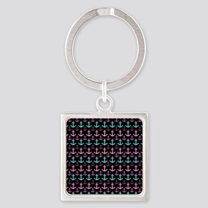 Trendy Nautical Anchor Pattern Square Keychain