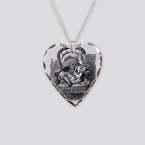 Vintage black and white alice Necklace Heart Charm