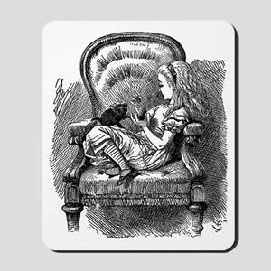 Vintage black and white alice in wonderl Mousepad