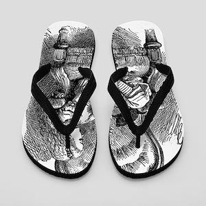 Vintage black and white alice in wonder Flip Flops