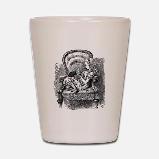 Vintage black and white alice in wonder Shot Glass