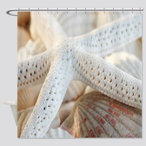 Beautiful Starfish Seashells Shower Curtain
