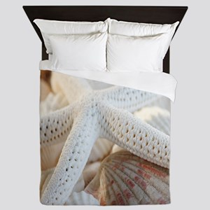 Beautiful Starfish Seashells Queen Duvet
