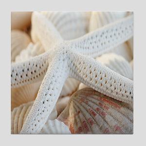Beautiful Starfish Seashells Tile Coaster