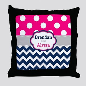 Pink Navy Dots Chevron Personalized Throw Pillow