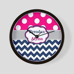 Pink Navy Dots Chevron Personalized Wall Clock