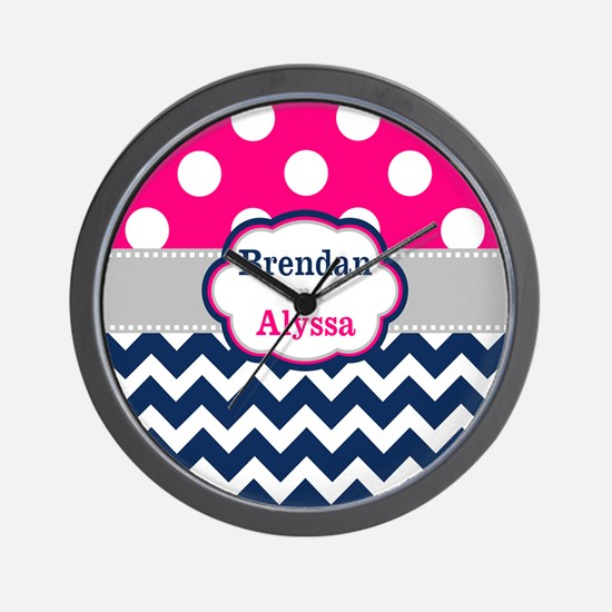 Pink Navy Dots Chevron Personalized Wall Clock