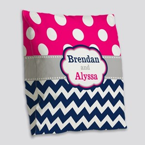 Pink Navy Dots Chevron Personalized Burlap Throw P
