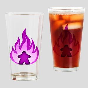 Fire Meeple Purple Drinking Glass