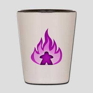 Fire Meeple Purple Shot Glass