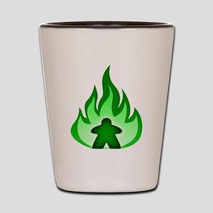 Fire Meeple Green Shot Glass