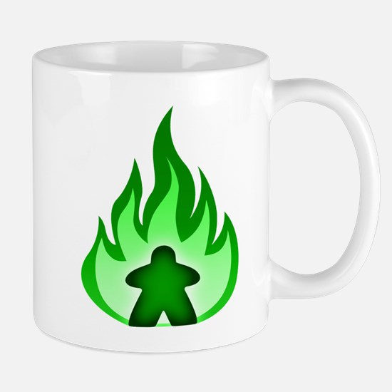 Fire Meeple Green Mugs