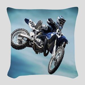Dirt Bike Jump Woven Throw Pillow