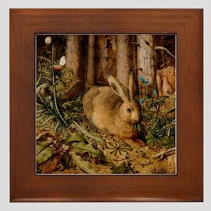 Hare In The Forest Framed Tile