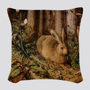 Hare In The Forest Woven Throw Pillow