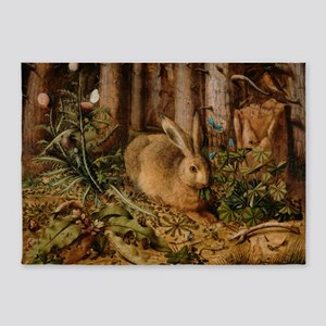 Hare In The Forest 5'x7'Area Rug