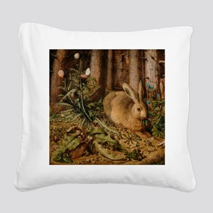 Hare In The Forest Square Canvas Pillow