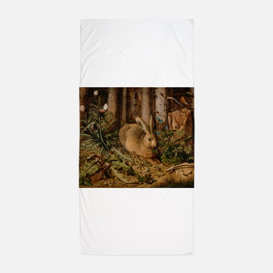 Hare In The Forest Beach Towel