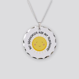 Grandkids Are Sunshine Necklace Circle Charm