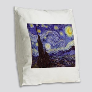Van Gogh Starry Night Burlap Throw Pillow