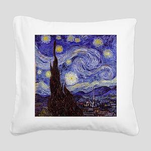 Van Gogh Starry Night Square Canvas Pillow
