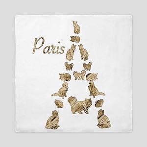 Paris Eiffel Tower of Cats Queen Duvet