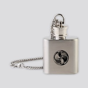 White and Black Yin Yang Scorpions Flask Necklace
