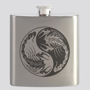 White and Black Yin Yang Scorpions Flask