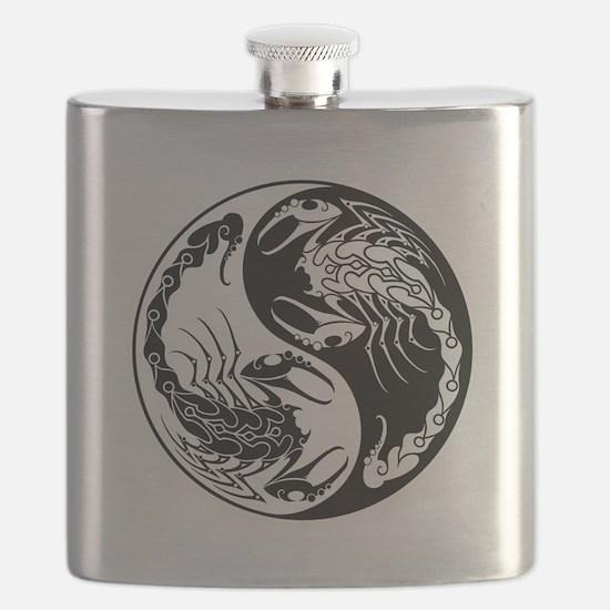 White and Black Yin Yang Scorpions Flask