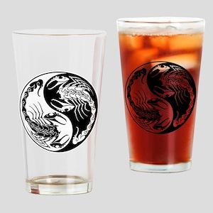 White and Black Yin Yang Scorpions Drinking Glass