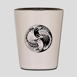 White and Black Yin Yang Scorpions Shot Glass