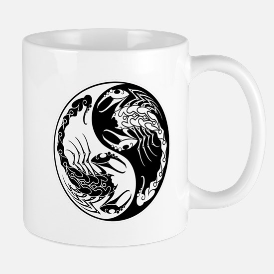 White and Black Yin Yang Scorpions Mugs