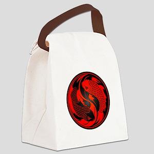 Black and Red Yin Yang Koi Fish Canvas Lunch Bag
