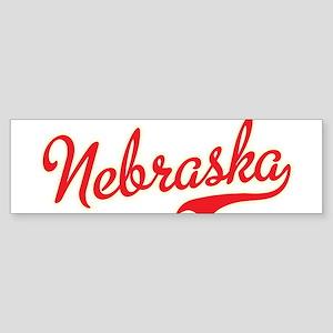 Nebraska Script Font Bumper Sticker
