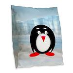 Little Fat Penguin Burlap Throw Pillow