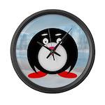 Little Fat Penguin Large Wall Clock