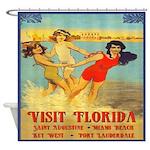 Vintage Florida Nautical Poster Shower Curtain