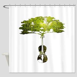 Violin tree Shower Curtain